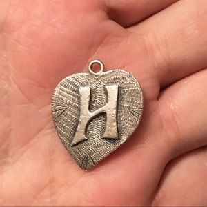 Sterling Silver heart with 3D letter H pendant